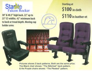 Falcon Rocker new theater seating back stitch patterns