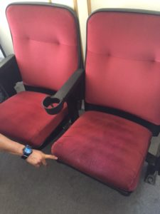 Used theater seating refurbished Marquee red