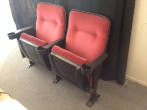 Used theater seating refurbished Marquee red velvet