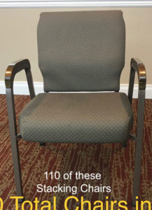 Used church chairs for sale. Used auditorium seats. Lot of 110 seats.