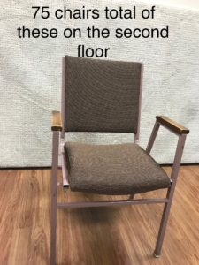 Used church chairs for sale. Auditorium chairs, used. Lot of 75 seats.