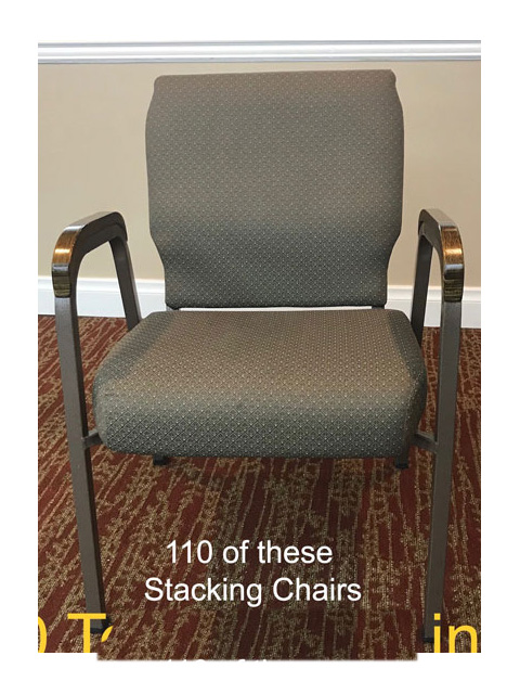 Used church chairs for sale. Lot of 110 seats.