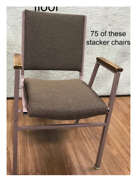 Used church chairs for sale. Lot of 75 seats.